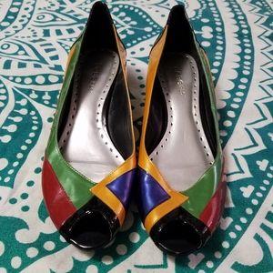 Rad BCBGirls multi-colorblock peep toe wedges, 9